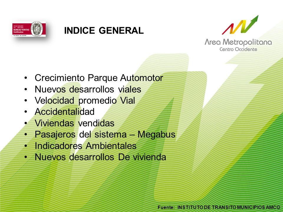INDICE GENERAL Fuente: INSTITUTO DE TRANSITO MUNICIPIOS AMCO Crecimiento Parque Automotor Nuevos desarrollos viales Velocidad promedio Vial Accidental