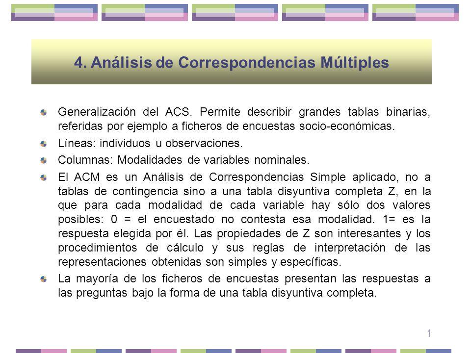 1 Generalización del ACS. Permite describir grandes tablas binarias, referidas por ejemplo a ficheros de encuestas socio-económicas. Líneas: individuo
