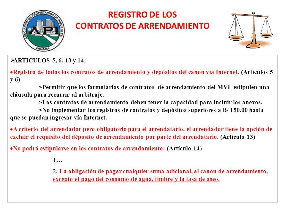 ARTICULOS 5, 6, 13 y 14: Registro de todos los contratos de arrendamiento y depósitos del canon vía Internet. (Artículos 5 y 6) >Permitir que los form