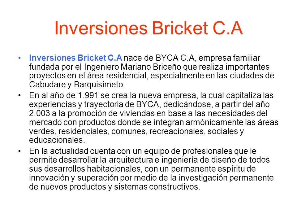 Inversiones Bricket C.A Inversiones Bricket C.A nace de BYCA C.A, empresa familiar fundada por el Ingeniero Mariano Briceño que realiza importantes pr