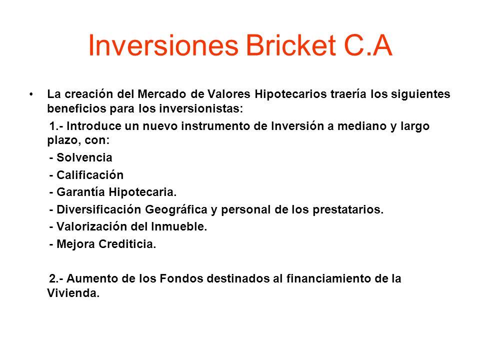 Inversiones Bricket C.A La creación del Mercado de Valores Hipotecarios traería los siguientes beneficios para los inversionistas: 1.- Introduce un nu
