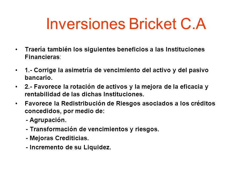 Inversiones Bricket C.A Traería también los siguientes beneficios a las Instituciones Financieras: 1.- Corrige la asimetría de vencimiento del activo