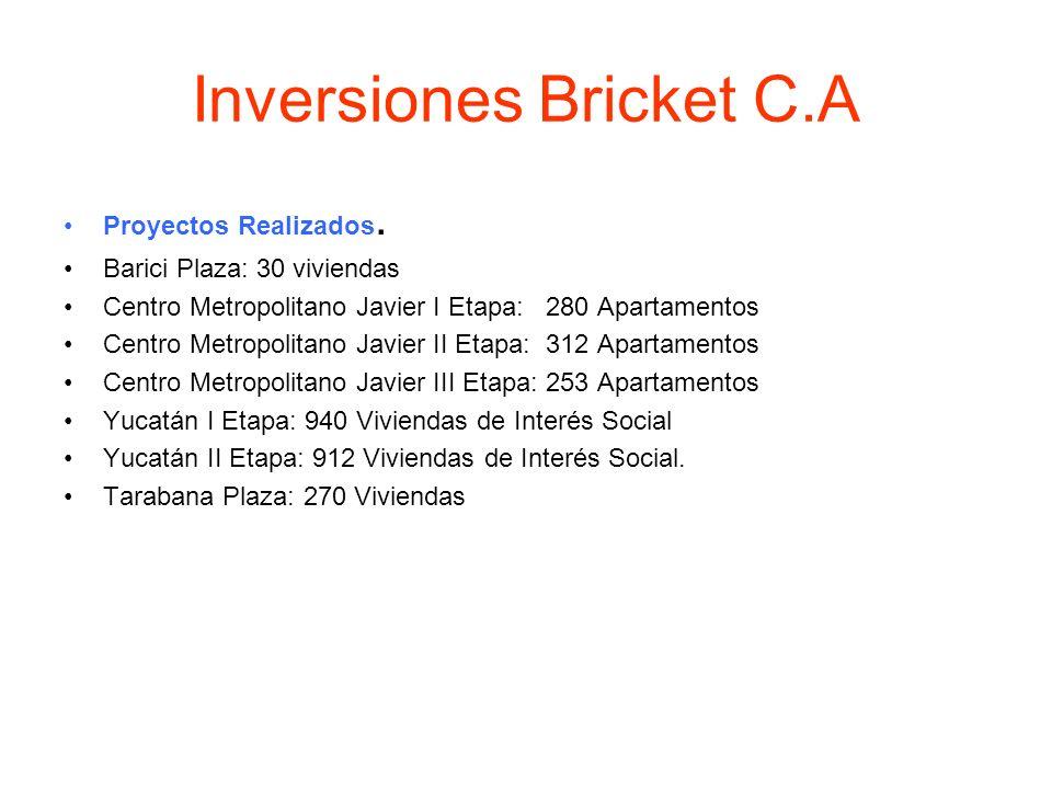 Inversiones Bricket C.A Proyectos Realizados. Barici Plaza: 30 viviendas Centro Metropolitano Javier I Etapa: 280 Apartamentos Centro Metropolitano Ja