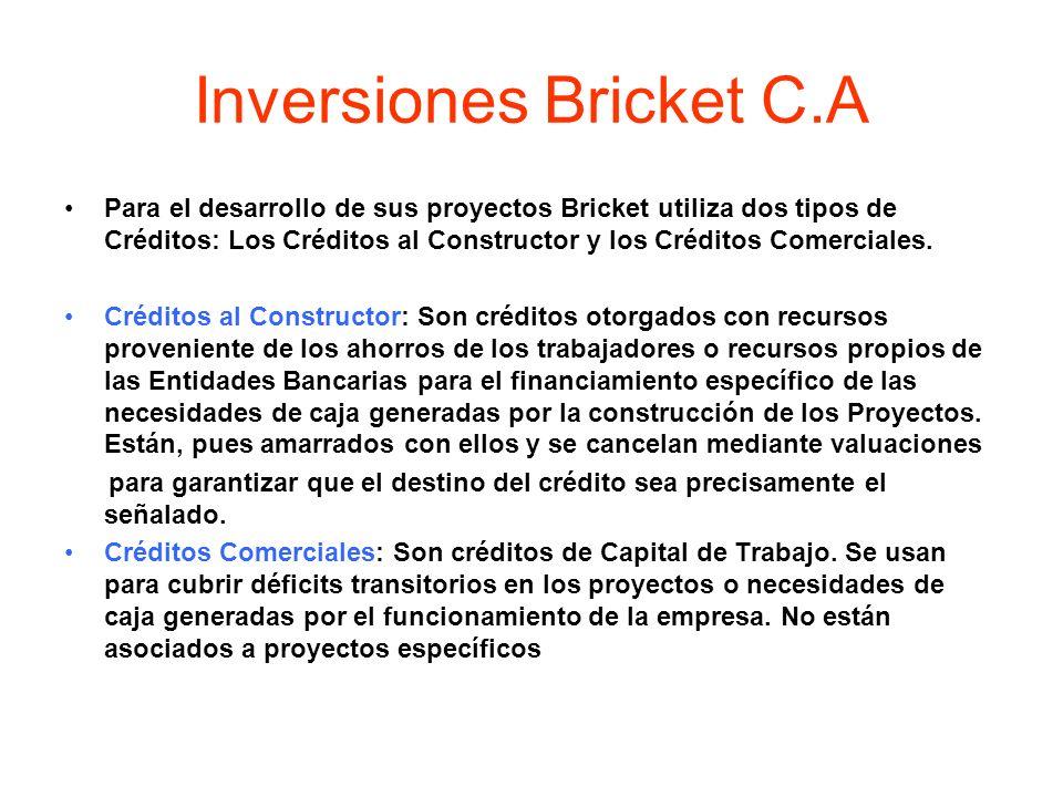 Inversiones Bricket C.A Para el desarrollo de sus proyectos Bricket utiliza dos tipos de Créditos: Los Créditos al Constructor y los Créditos Comercia