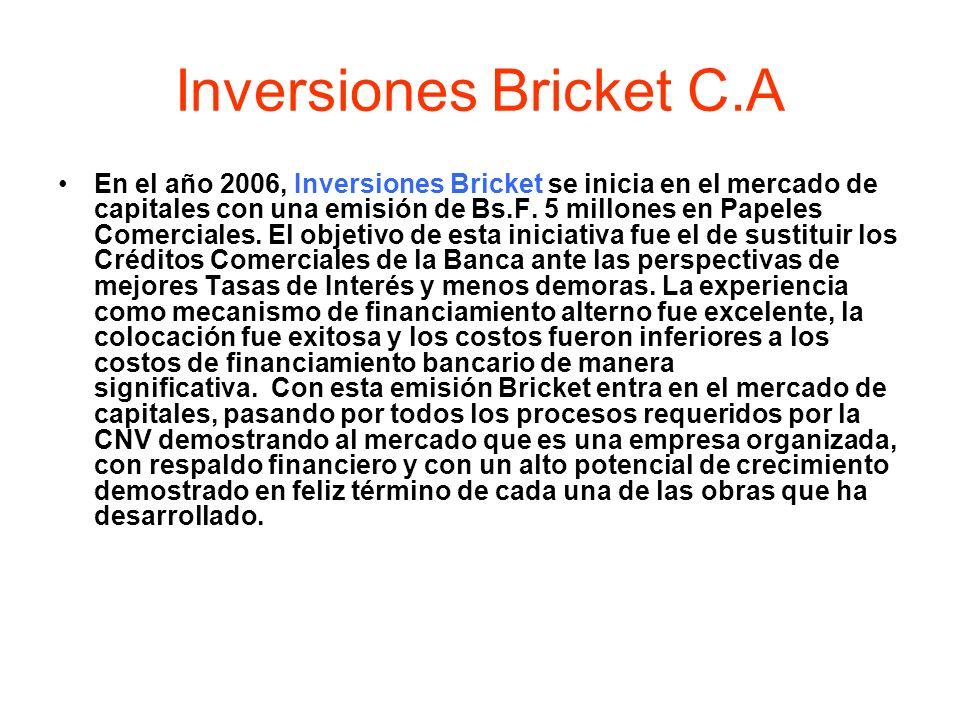 Inversiones Bricket C.A En el año 2006, Inversiones Bricket se inicia en el mercado de capitales con una emisión de Bs.F. 5 millones en Papeles Comerc