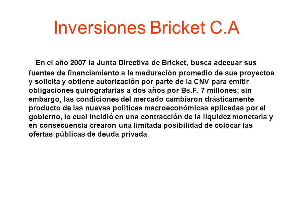 Inversiones Bricket C.A En el año 2007 la Junta Directiva de Bricket, busca adecuar sus fuentes de financiamiento a la maduración promedio de sus proy