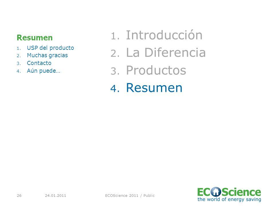 24.01.2011ECOScience 2011 / Public26 Resumen 1. Introducción 2.