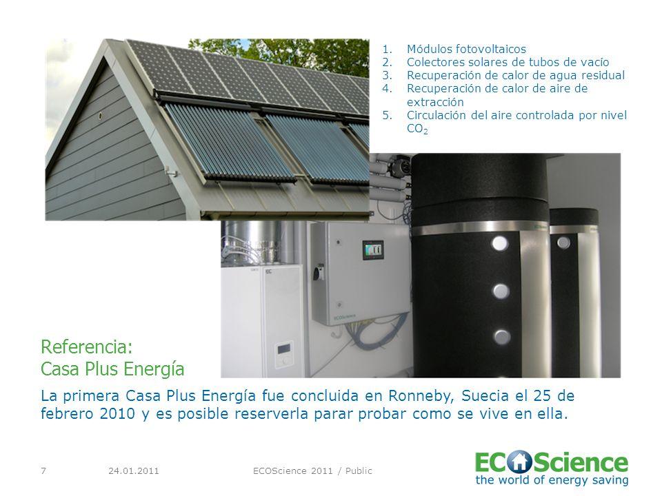 24.01.2011ECOScience 2011 / Public7 La primera Casa Plus Energía fue concluida en Ronneby, Suecia el 25 de febrero 2010 y es posible reserverla parar probar como se vive en ella.