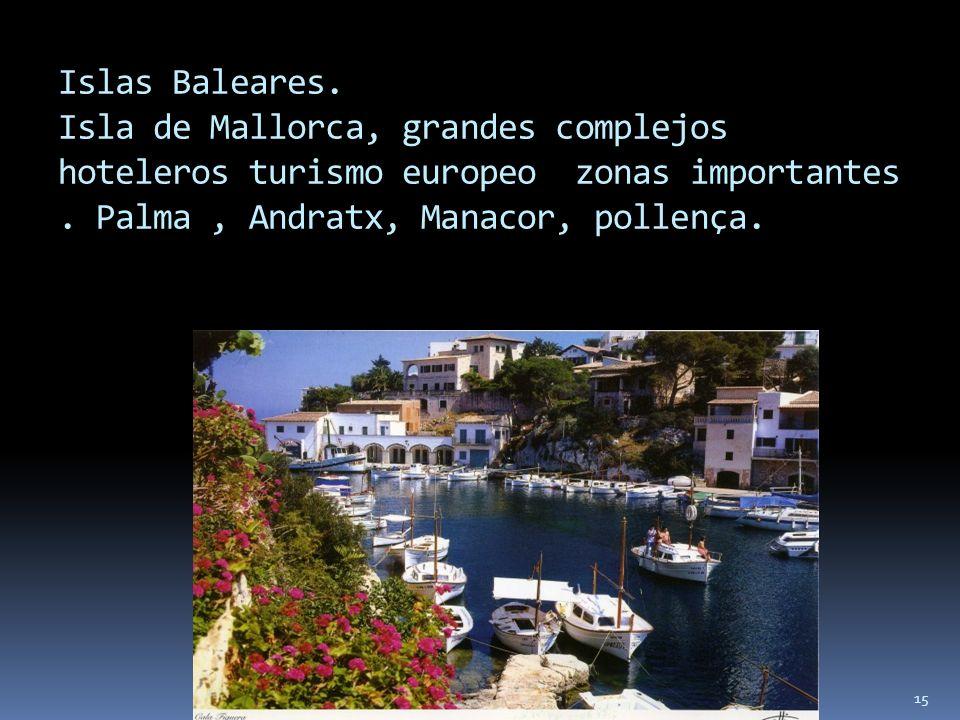 15 Islas Baleares. Isla de Mallorca, grandes complejos hoteleros turismo europeo zonas importantes. Palma, Andratx, Manacor, pollença.