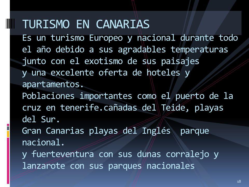 18 TURISMO EN CANARIAS Es un turismo Europeo y nacional durante todo el año debido a sus agradables temperaturas junto con el exotismo de sus paisajes