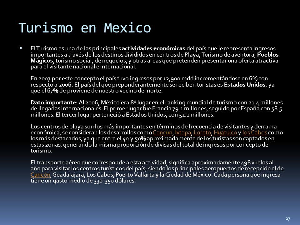 27 Turismo en Mexico El Turismo es una de las principales actividades económicas del país que le representa ingresos importantes a través de los desti