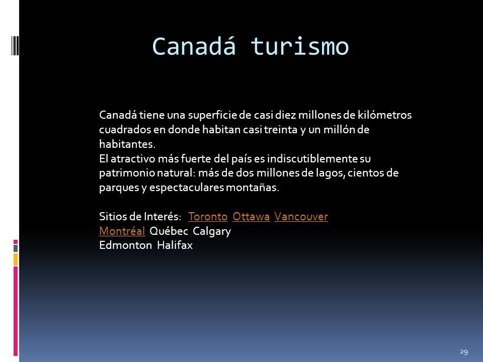 29 Canadá turismo Canadá tiene una superficie de casi diez millones de kilómetros cuadrados en donde habitan casi treinta y un millón de habitantes. E