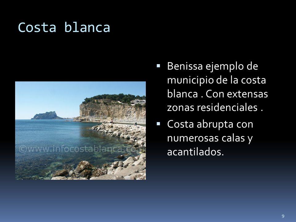 9 Costa blanca Benissa ejemplo de municipio de la costa blanca. Con extensas zonas residenciales. Costa abrupta con numerosas calas y acantilados.