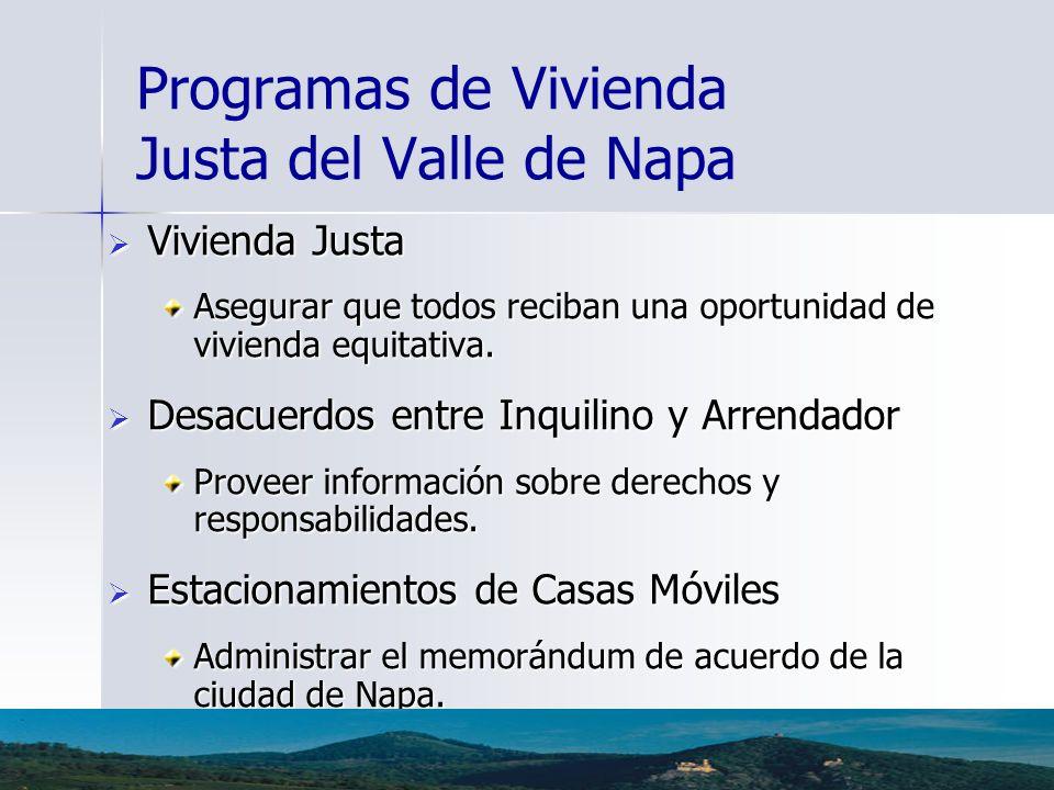 Programas de Vivienda Justa del Valle de Napa Vivienda Justa Vivienda Justa Asegurar que todos reciban una oportunidad de vivienda equitativa. Desacue
