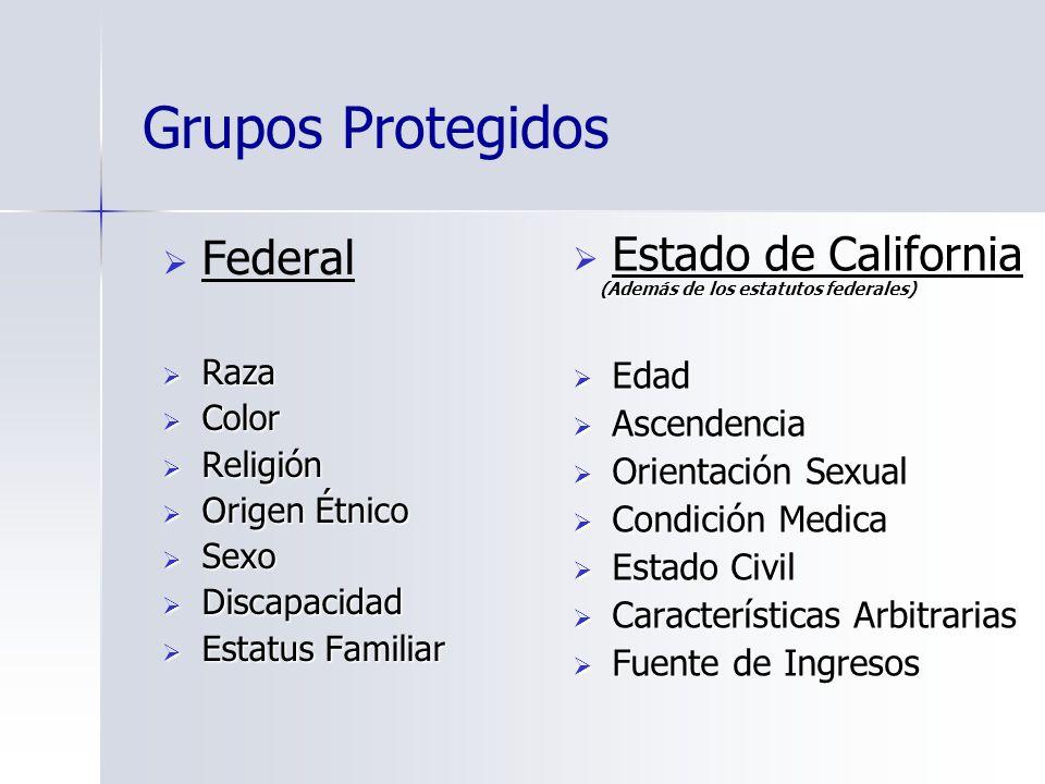 Grupos Protegidos Federal Raza Raza Color Color Religión Religión Origen Étnico Origen Étnico Sexo Sexo Discapacidad Discapacidad Estatus Familiar Est