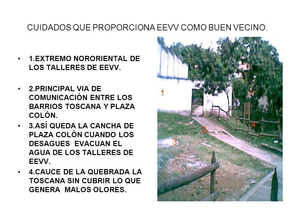 CUIDADOS QUE PROPORCIONA EEVV COMO BUEN VECINO. 1.EXTREMO NORORIENTAL DE LOS TALLERES DE EEVV.