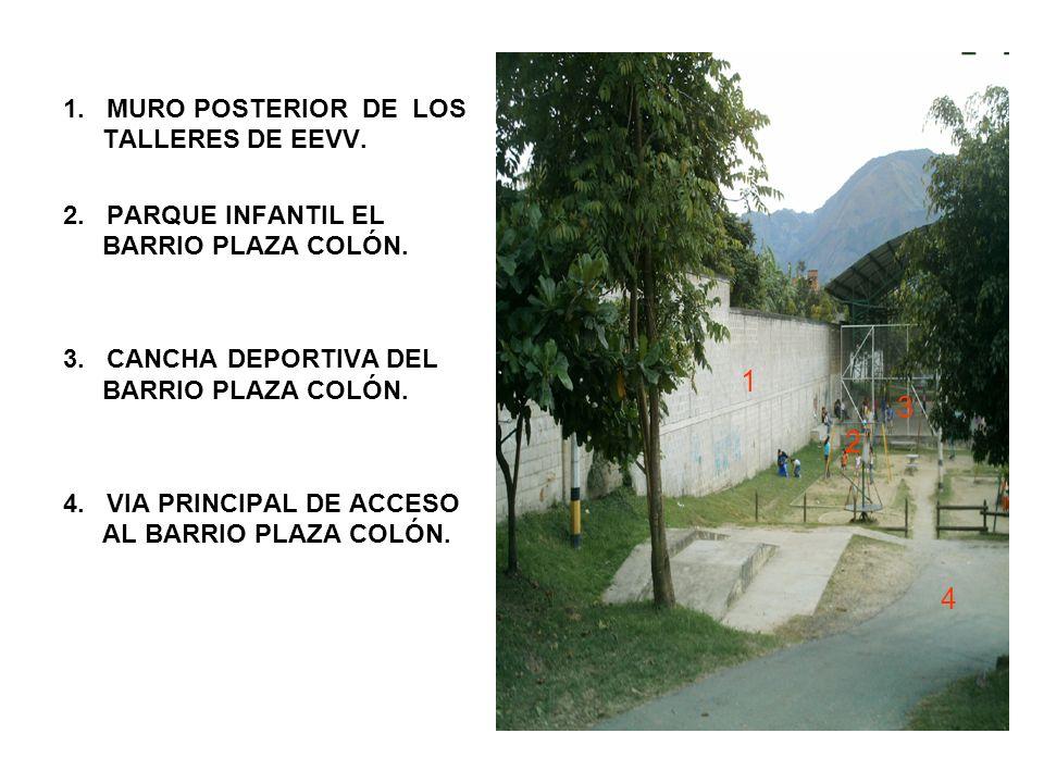 1. MURO POSTERIOR DE LOS TALLERES DE EEVV. 2. PARQUE INFANTIL EL BARRIO PLAZA COLÓN.