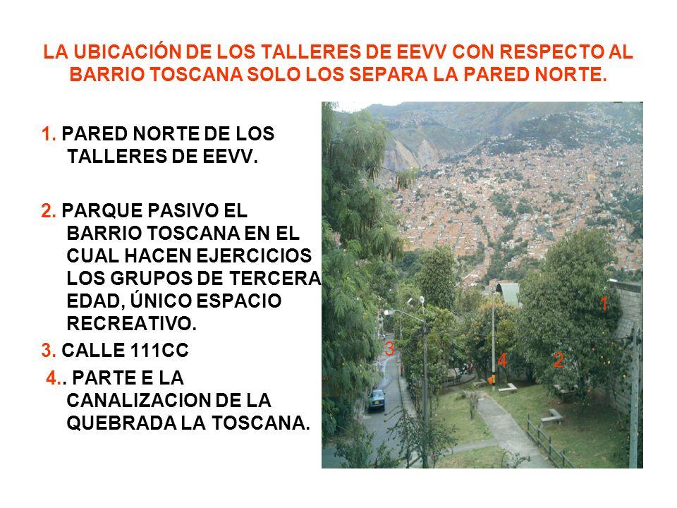 LA UBICACIÓN DE LOS TALLERES DE EEVV CON RESPECTO AL BARRIO TOSCANA SOLO LOS SEPARA LA PARED NORTE.