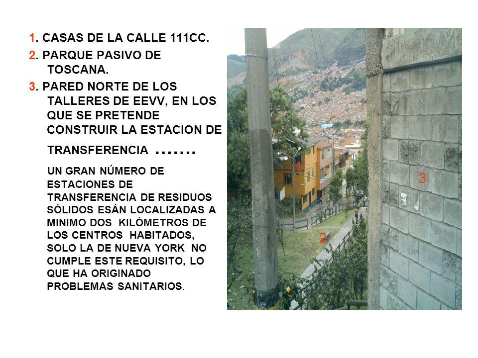 1. CASAS DE LA CALLE 111CC. 2. PARQUE PASIVO DE TOSCANA.