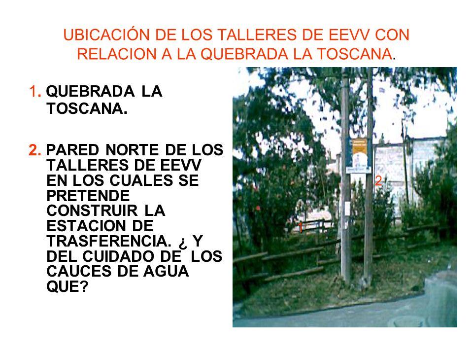 UBICACIÓN DE LOS TALLERES DE EEVV CON RELACION A LA QUEBRADA LA TOSCANA.