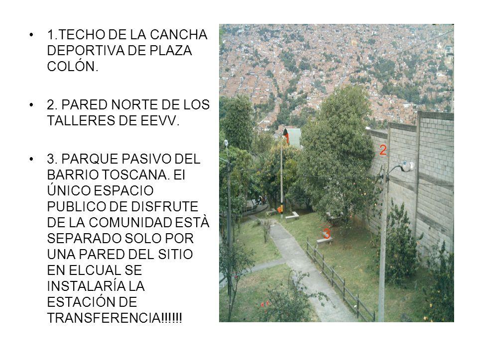 1.TECHO DE LA CANCHA DEPORTIVA DE PLAZA COLÓN. 2.