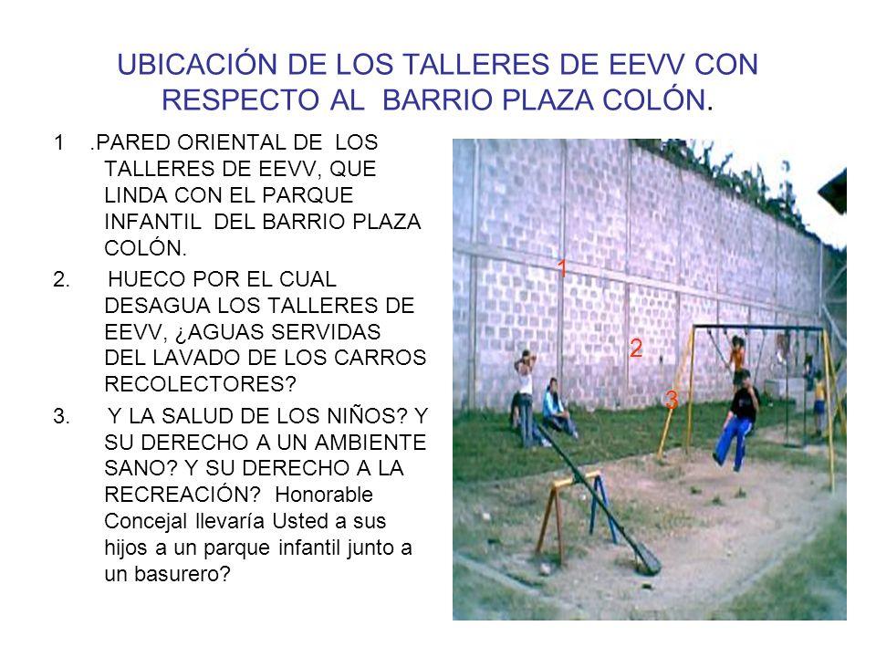UBICACIÓN DE LOS TALLERES DE EEVV CON RESPECTO AL BARRIO PLAZA COLÓN.