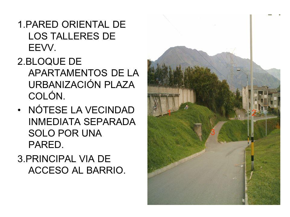 1.PARED ORIENTAL DE LOS TALLERES DE EEVV. 2.BLOQUE DE APARTAMENTOS DE LA URBANIZACIÓN PLAZA COLÓN.