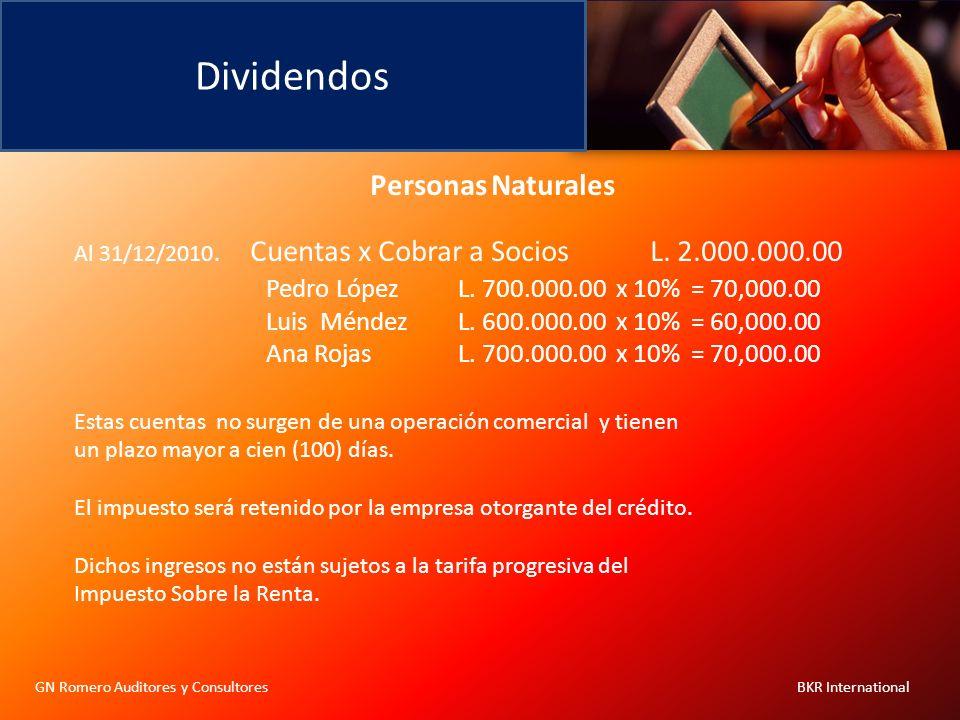 Dividendos GN Romero Auditores y Consultores BKR International Personas Naturales Al 31/12/2010. Cuentas x Cobrar a Socios L. 2.000.000.00 Pedro López