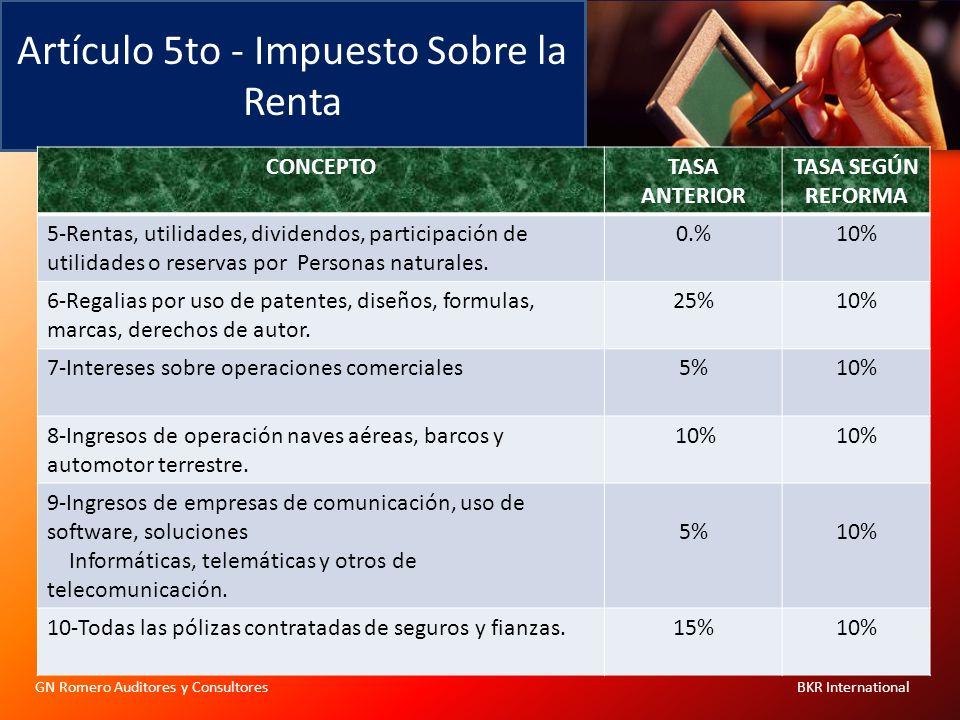 Artículo 5to - Impuesto Sobre la Renta GN Romero Auditores y Consultores BKR International CONCEPTOTASA ANTERIOR TASA SEGÚN REFORMA 5-Rentas, utilidad