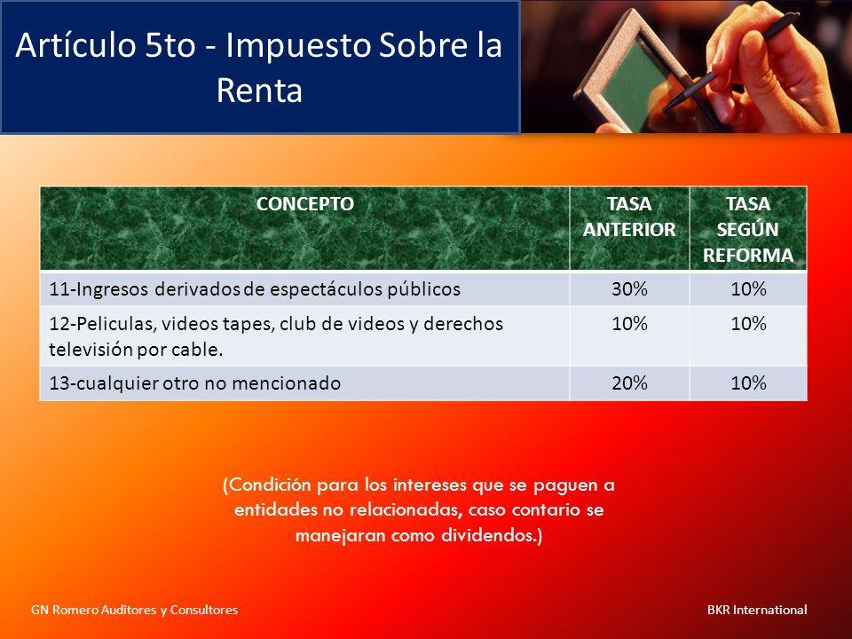 Artículo 5to - Impuesto Sobre la Renta GN Romero Auditores y Consultores BKR International CONCEPTOTASA ANTERIOR TASA SEGÚN REFORMA 11-Ingresos deriva
