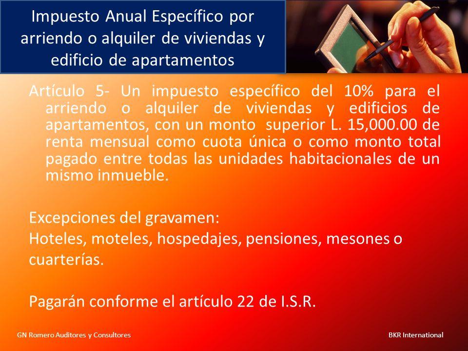 Impuesto Anual Específico por arriendo o alquiler de viviendas y edificio de apartamentos GN Romero Auditores y Consultores BKR International Artículo