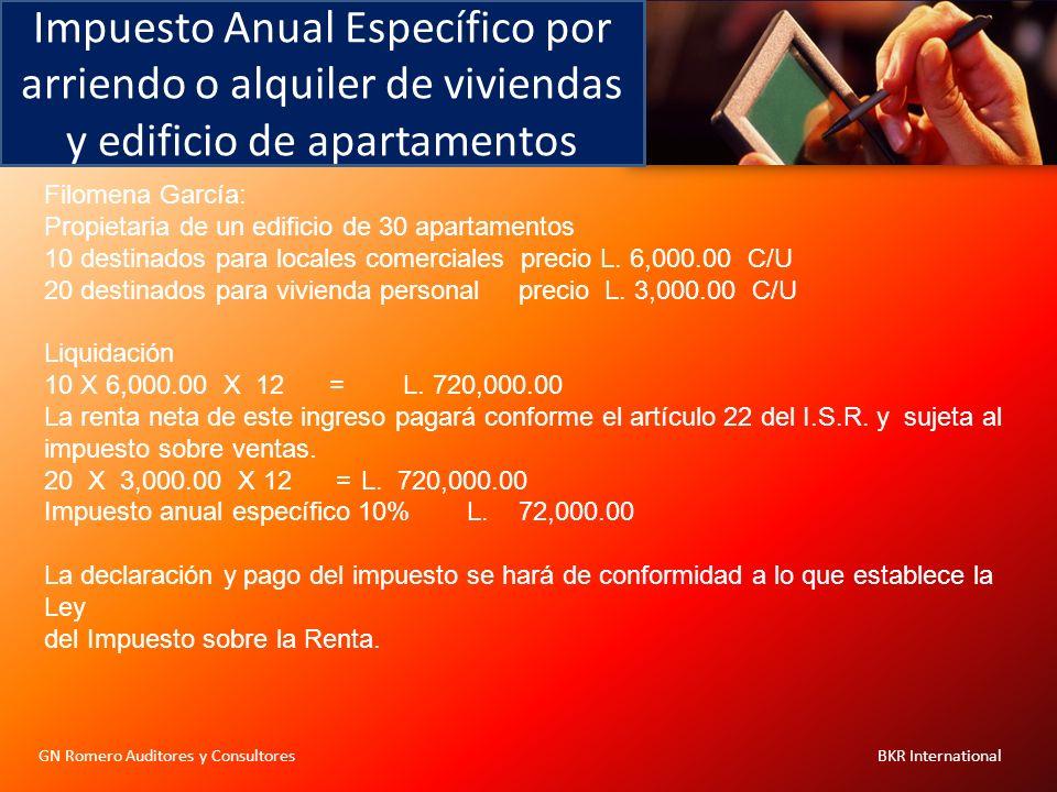 Impuesto Anual Específico por arriendo o alquiler de viviendas y edificio de apartamentos GN Romero Auditores y Consultores BKR International Filomena