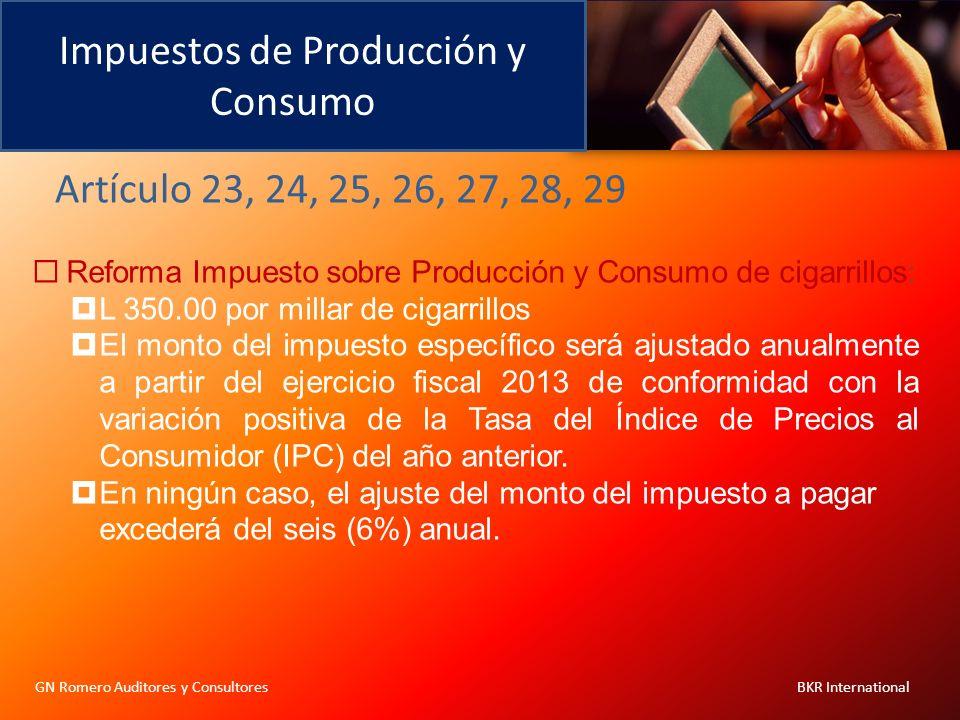 Impuestos de Producción y Consumo GN Romero Auditores y Consultores BKR International Reforma Impuesto sobre Producción y Consumo de cigarrillos: L 35