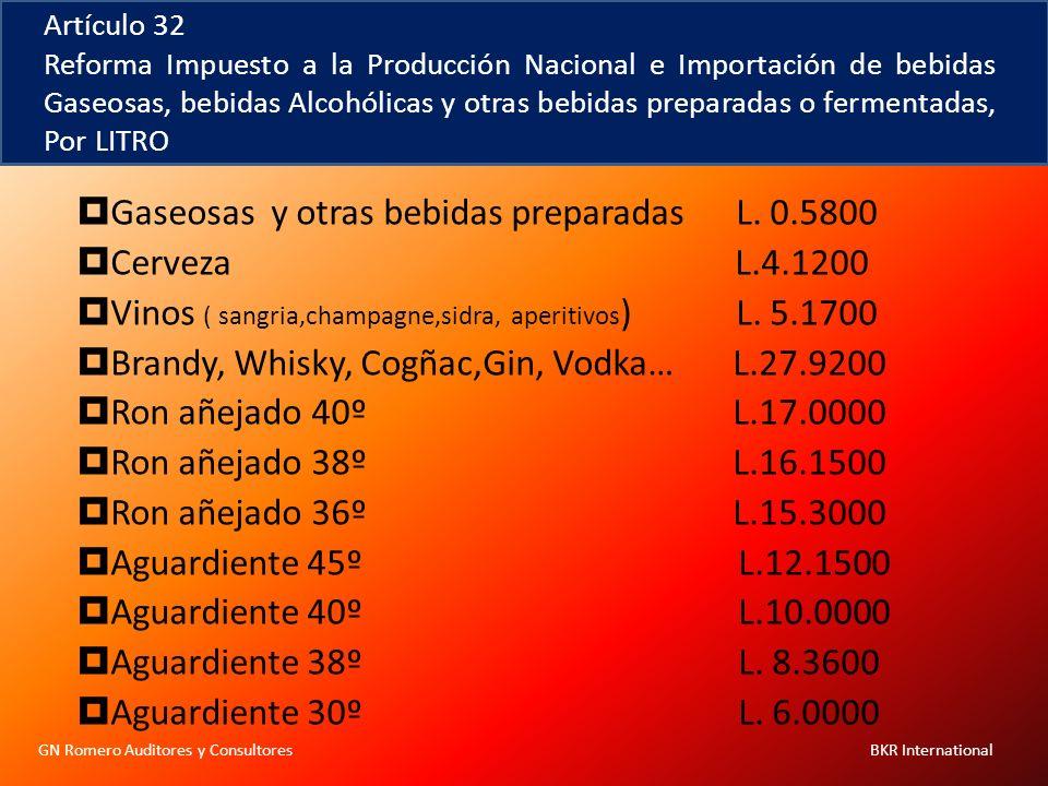 GN Romero Auditores y Consultores BKR International Artículo 32 Reforma Impuesto a la Producción Nacional e Importación de bebidas Gaseosas, bebidas A