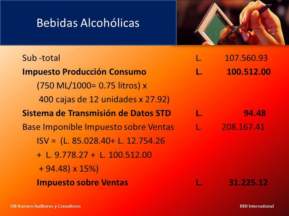 Bebidas Alcohólicas GN Romero Auditores y Consultores BKR International Sub -totalL.107.560.93 Impuesto Producción ConsumoL. 100.512.00 (750 ML/1000=