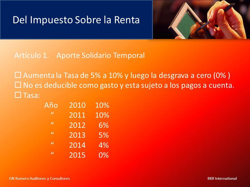 Del Impuesto Sobre la Renta GN Romero Auditores y Consultores BKR International Artículo 1. Aporte Solidario Temporal Aumenta la Tasa de 5% a 10% y lu