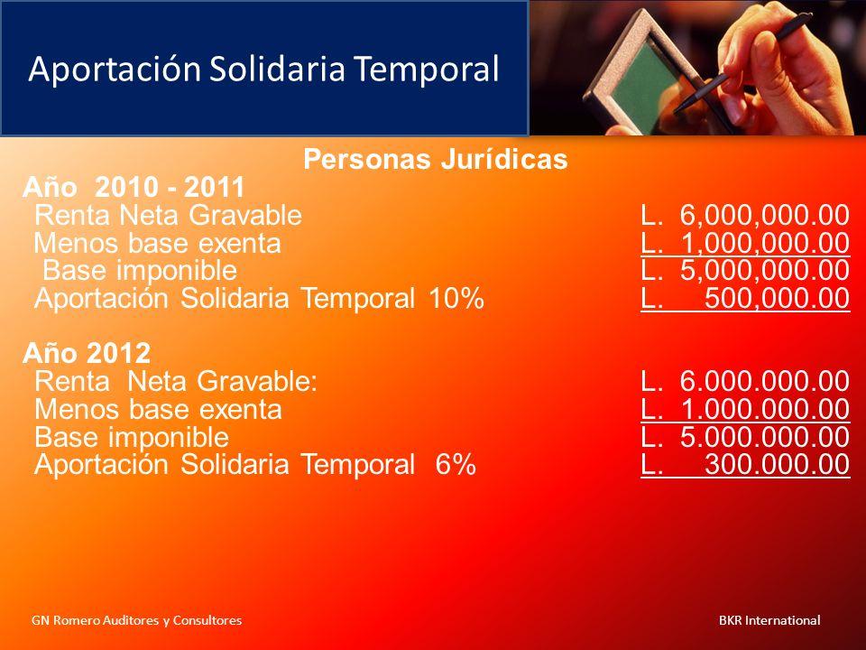 Aportación Solidaria Temporal Personas Jurídicas Año 2010 - 2011 Renta Neta GravableL. 6,000,000.00 Menos base exenta L. 1,000,000.00 Base imponibleL.