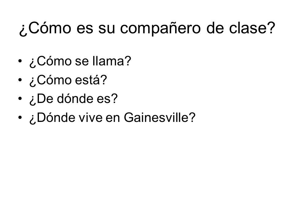 ¿Cómo es su compañero de clase? ¿Cómo se llama? ¿Cómo está? ¿De dónde es? ¿Dónde vive en Gainesville?