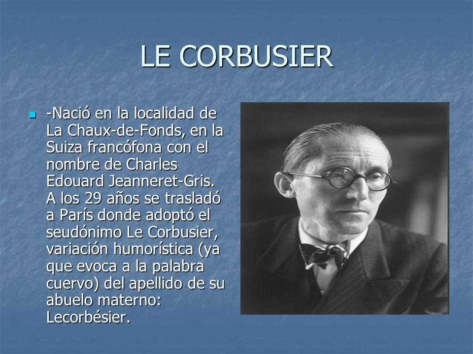 LE CORBUSIER -Nació en la localidad de La Chaux-de-Fonds, en la Suiza francófona con el nombre de Charles Edouard Jeanneret-Gris. A los 29 años se tra