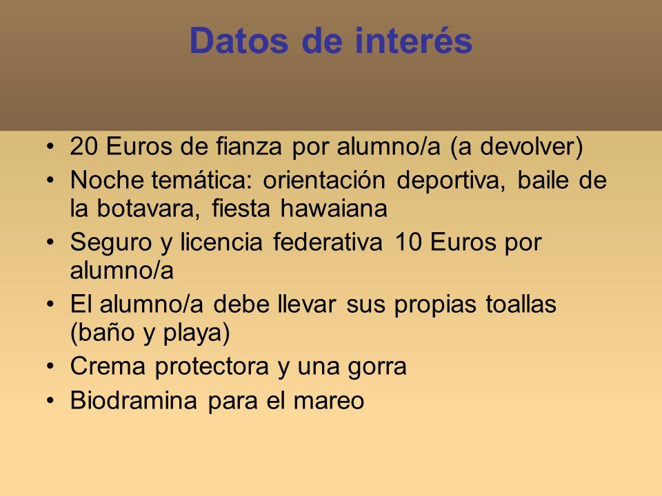 Datos de interés 20 Euros de fianza por alumno/a (a devolver) Noche temática: orientación deportiva, baile de la botavara, fiesta hawaiana Seguro y li