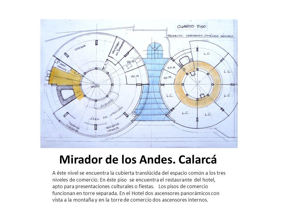 Mirador de los Andes. Calarcá A éste nivel se encuentra la cubierta translúcida del espacio común a los tres niveles de comercio. En éste piso se encu