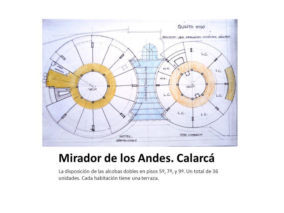 Mirador de los Andes. Calarcá La disposición de las alcobas dobles en pisos 5º, 7º, y 9º. Un total de 36 unidades. Cada habitación tiene una terraza.