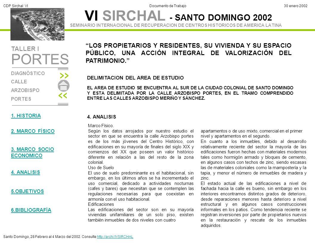 VI SIRCHAL - SANTO DOMINGO 2002 DIAGNÓSTICO CALLE ARZOBISPO PORTES TALLER I SEMINARIO INTERNACIONAL DE RECUPERACION DE CENTROS HISTORICOS DE AMERICA LATINA PORTES CDP Sirchal VIDocumento de Trabajo30 enero 2002 Santo Domingo, 28 Febrero al 4 Marzo del 2002.