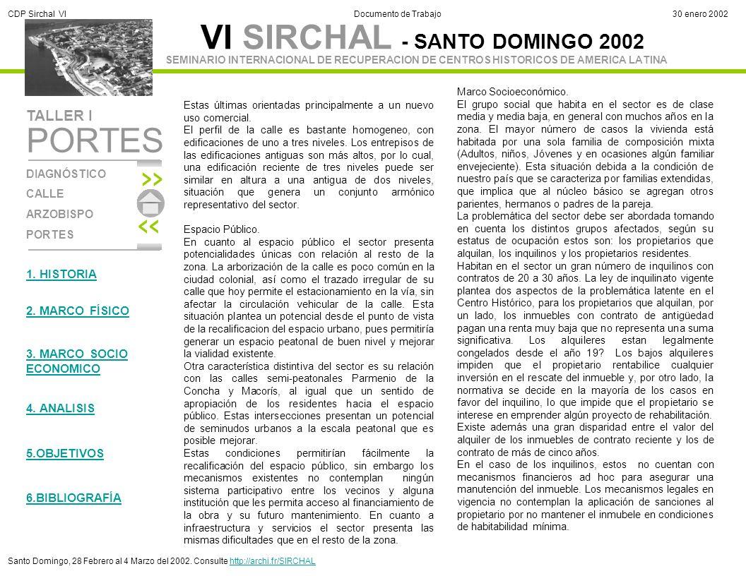 VI SIRCHAL - SANTO DOMINGO 2002 DIAGNÓSTICO CALLE ARZOBISPO PORTES TALLER I SEMINARIO INTERNACIONAL DE RECUPERACION DE CENTROS HISTORICOS DE AMERICA L