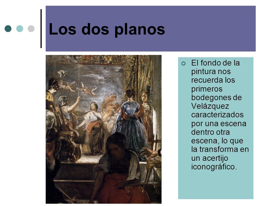 Los dos planos El fondo de la pintura nos recuerda los primeros bodegones de Velázquez caracterizados por una escena dentro otra escena, lo que la transforma en un acertijo iconográfico.
