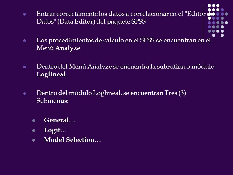 Entrar correctamente los datos a correlacionar en el Editor de Datos (Data Editor) del paquete SPSS Los procedimientos de cálculo en el SPSS se encuentran en el Menú Analyze Dentro del Menú Analyze se encuentra la subrutina o módulo Loglineal.