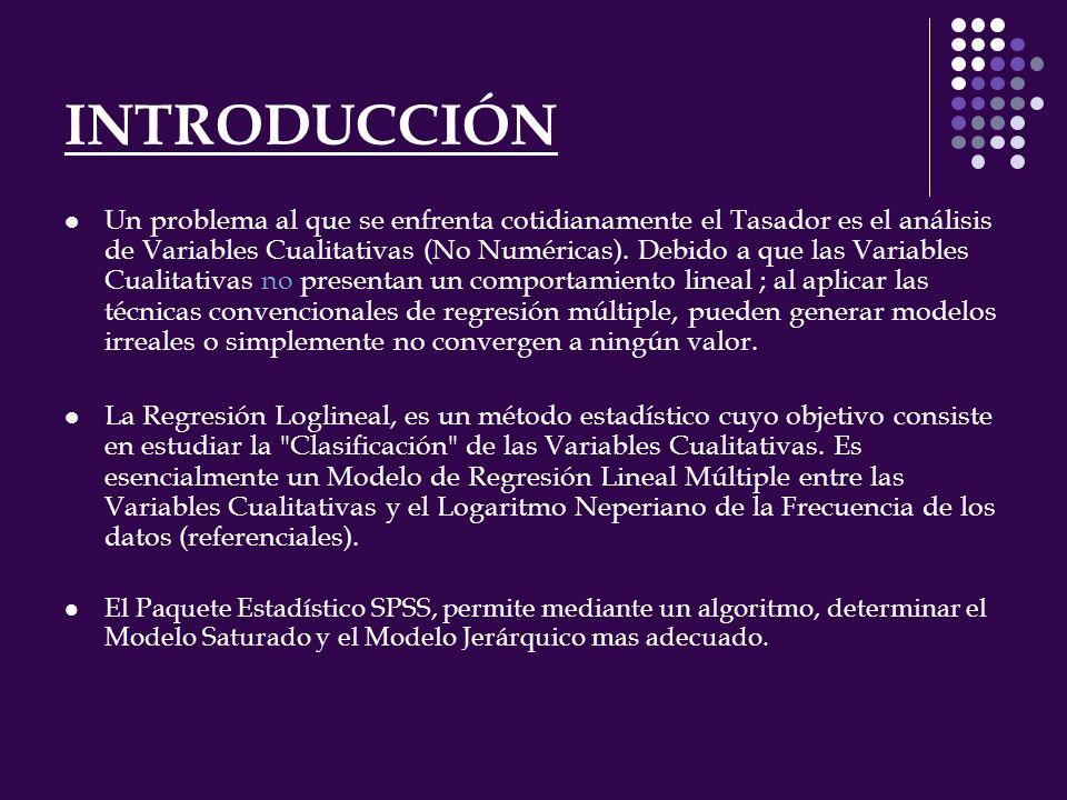 INTRODUCCIÓN Un problema al que se enfrenta cotidianamente el Tasador es el análisis de Variables Cualitativas (No Numéricas).