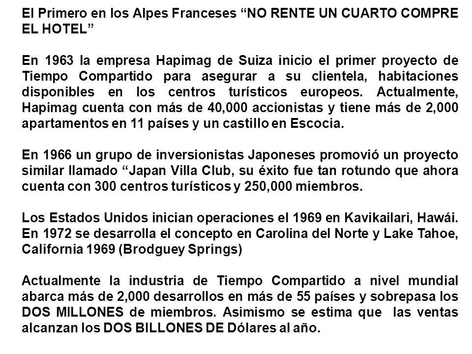 El Primero en los Alpes Franceses NO RENTE UN CUARTO COMPRE EL HOTEL En 1963 la empresa Hapimag de Suiza inicio el primer proyecto de Tiempo Compartid