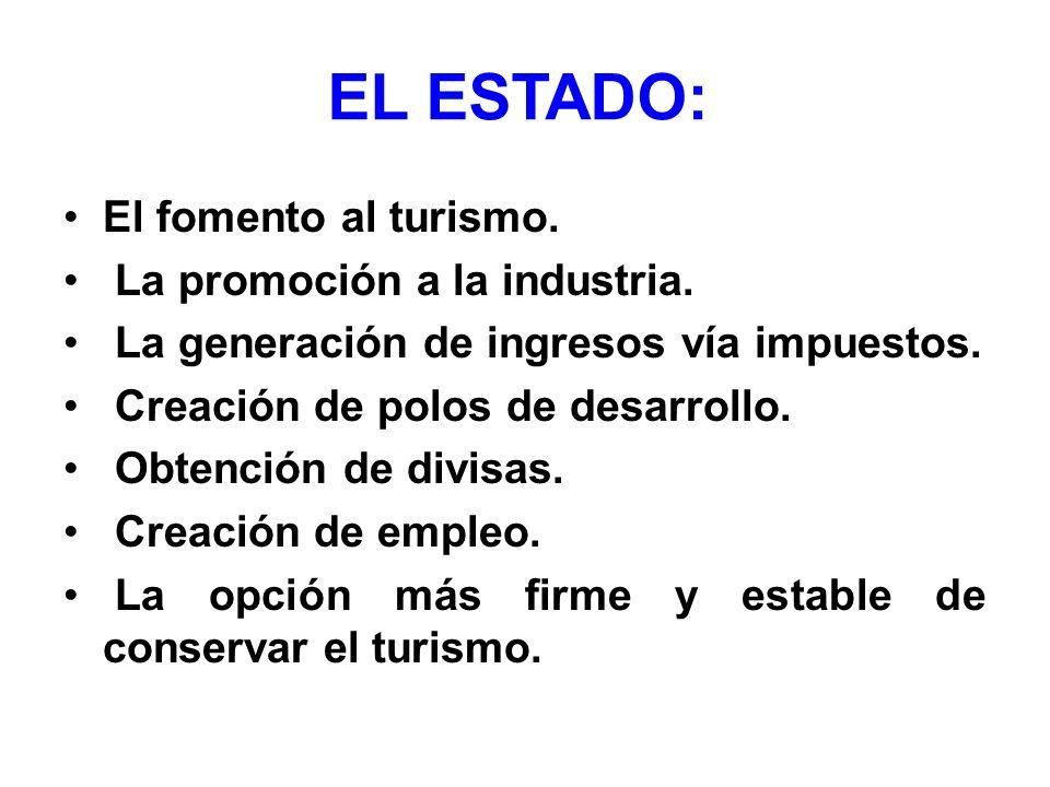 EL ESTADO: El fomento al turismo. La promoción a la industria. La generación de ingresos vía impuestos. Creación de polos de desarrollo. Obtención de