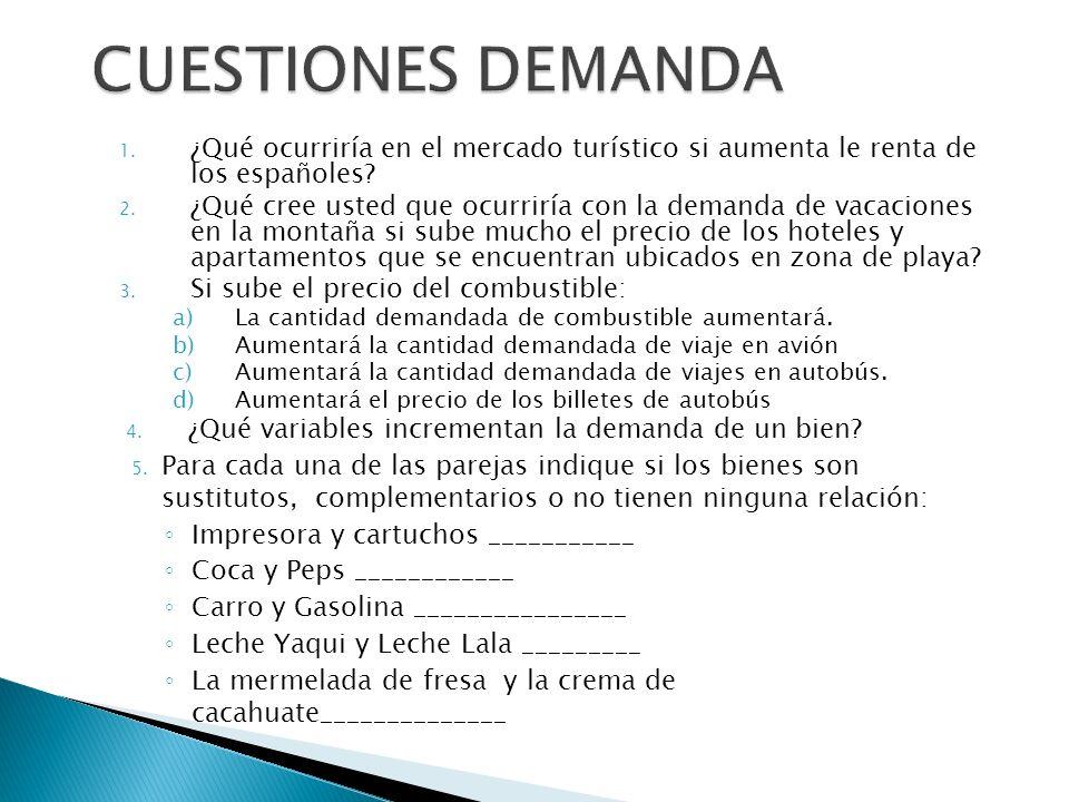 1. ¿Qué ocurriría en el mercado turístico si aumenta le renta de los españoles? 2. ¿Qué cree usted que ocurriría con la demanda de vacaciones en la mo